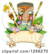 Clipart Of A Tropical Tiki And Torches With Bamboo Coconut Juice And Flowers Over A Ribbon Royalty Free Vector Illustration