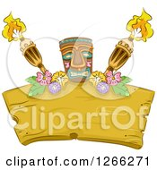 Clipart Of A Tiki With Flowers And Torches Over A Wood Sign Royalty Free Vector Illustration