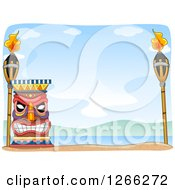 Clipart Of A Tiki With Torches On A Beach Royalty Free Vector Illustration