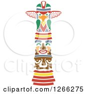 Clipart Of A Stencil Styled Tiki Royalty Free Vector Illustration