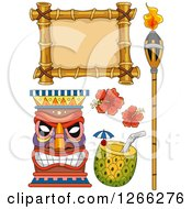 Clipart Of Hawaiian Design Elements Royalty Free Vector Illustration by BNP Design Studio