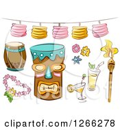 Clipart Of Sketched Hawaiian Tiki Party Items Royalty Free Vector Illustration by BNP Design Studio