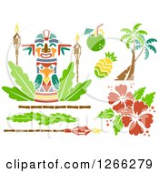 Clipart Of Stencil Styled Hawaiian Design Elements Royalty Free Vector Illustration
