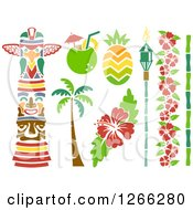 Clipart Of Stencil Styled Hawaiian Design Elements Royalty Free Vector Illustration by BNP Design Studio