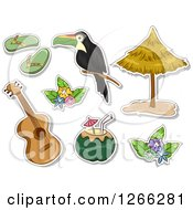 Clipart Of Hawaiian Themed Sticker Style Designs Royalty Free Vector Illustration