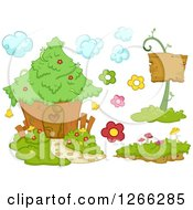 Clipart Of An Enchanted Fairy House And Elements Royalty Free Vector Illustration