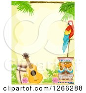 Clipart Of A Hawaiian Background With A Parrot Tiki And Guitar Royalty Free Vector Illustration