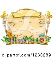 Clipart Of A Wooden Sign With Hawaiian Items Royalty Free Vector Illustration