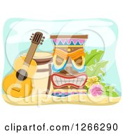 Clipart Of A Guitar Drum And Tiki Royalty Free Vector Illustration by BNP Design Studio