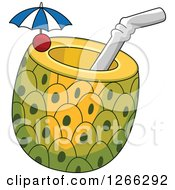Clipart Of A Pineapple Cocktail Royalty Free Vector Illustration