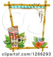 Clipart Of A Bamboo Frame With A Tiki Cocktail And Hibiscus Flowers Royalty Free Vector Illustration by BNP Design Studio