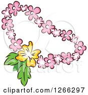 Clipart Of A Tiki Party Pink And Yellow Floral Lei Royalty Free Vector Illustration