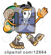 Suitcase Cartoon Character Hiking And Carrying A Backpack