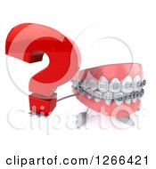 Clipart Of A 3d Metal Mouth Teeth Mascot With Braces Holding A Question Mark Royalty Free Illustration
