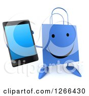 Clipart Of A 3d Happy Blue Shopping Bag Character Holding Up A Cell Phone Royalty Free Illustration