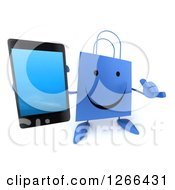 Clipart Of A 3d Happy Blue Shopping Bag Character Holding Up A Cell Phone And Gesturing Call Me Royalty Free Illustration