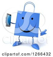 Clipart Of A 3d Happy Blue Shopping Bag Character Holding A Cell Phone Royalty Free Illustration