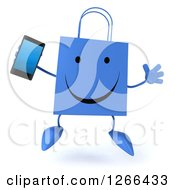 Clipart Of A 3d Happy Blue Shopping Bag Character Jumping And Holding A Cell Phone Royalty Free Illustration