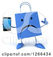 Clipart Of A 3d Unhappy Blue Shopping Bag Character Holding A Cell Phone Royalty Free Illustration