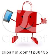 Clipart Of A 3d Happy Red Shopping Bag Character Jumping And Holding A Cell Phone Royalty Free Illustration