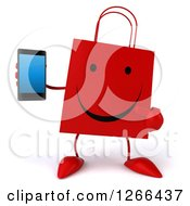 Clipart Of A 3d Happy Red Shopping Bag Character Holding A Cell Phone Royalty Free Illustration
