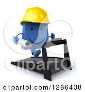 Clipart Of A 3d Happy Blue Shopping Bag Contractor Character Running On A Treadmill Royalty Free Illustration