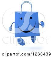 Clipart Of A 3d Happy Blue Shopping Bag Character Running Royalty Free Illustration
