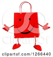 Clipart Of A 3d Red Happy Shopping Or Gift Bag Character Welcoming Royalty Free Illustration