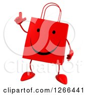 Clipart Of A 3d Red Happy Shopping Or Gift Bag Character With An Idea Royalty Free Illustration