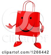 Clipart Of A 3d Red Happy Shopping Or Gift Bag Character Presenting Royalty Free Illustration