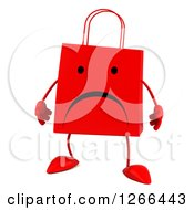 Clipart Of A 3d Red Unhappy Shopping Or Gift Bag Character Royalty Free Illustration