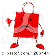 Clipart Of A 3d Red Unhappy Shopping Or Gift Bag Character Giving A Thumb Down Royalty Free Illustration
