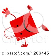 Clipart Of A 3d Red Unhappy Shopping Or Gift Bag Character Cartwheeling Royalty Free Illustration