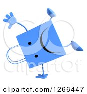 Clipart Of A 3d Blue Unhappy Shopping Or Gift Bag Character Cartwheeling Royalty Free Illustration