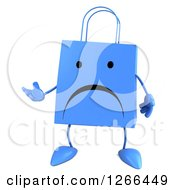 Clipart Of A 3d Blue Unhappy Shopping Or Gift Bag Character Presenting Royalty Free Illustration