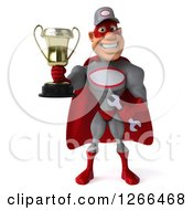 Clipart Of A 3d Super Hero Mechanic Holding A Trophy Royalty Free Illustration