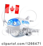 Clipart Of A 3d Happy White Airplane Flying With A Canadian Flag Royalty Free Illustration