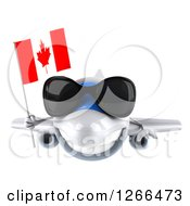 Clipart Of A 3d Happy White Airplane Wearing Sunglasses And Flying With A Canadian Flag Royalty Free Illustration