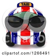 Clipart Of A 3d British Flag Taxi Cab Character Wearing Sunglasses Royalty Free Illustration by Julos