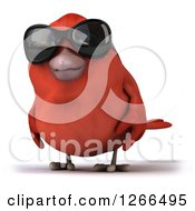Clipart Of A 3d Red Bird Wearing Sunglasses Royalty Free Illustration