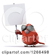 Clipart Of A 3d Red Bird Wearing Sunglasses And Holding Up A Blank Sign Royalty Free Illustration