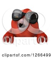 Clipart Of A 3d Red Bird Wearing Sunglasses Over A Sign Royalty Free Illustration
