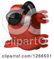 Clipart Of A 3d Red Bird Wearing Sunglasses Looking Around A Sign Royalty Free Illustration
