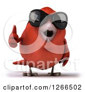 Clipart Of A 3d Red Bird Wearing Sunglasses And Holding A Thumb Up Royalty Free Illustration