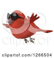Clipart Of A 3d Red Bird Wearing Sunglasses And Flying Royalty Free Illustration