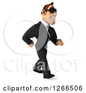 Clipart Of A 3d White Businessman Wearing Sunglasses And Walking Royalty Free Illustration