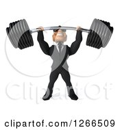 Clipart Of A 3d Macho White Businessman Wearing Sunglasses And Lifting A Barbell Royalty Free Illustration