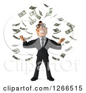 Clipart Of A 3d Bespectacled Macho White Businessman Making It Rain Money Royalty Free Illustration