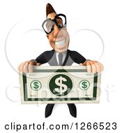 Clipart Of A 3d Bespectacled Macho White Businessman Holding A Giant Dollar Bill Royalty Free Illustration
