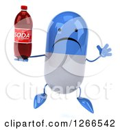 Clipart Of A 3d Unhappy Blue And White Pill Character Holding A Soda Bottle And Jumping Royalty Free Illustration